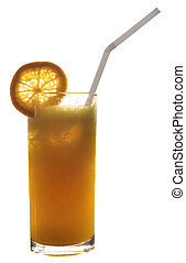 An isolated glass of orange juice