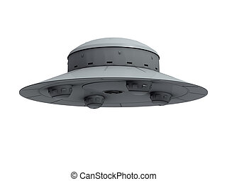 An isolated gray crude ufo with four hemispherical protrusions at the bottom hovering on white background