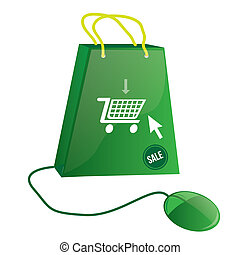 cyber monday - an isolated green bag with a cart, text and a...