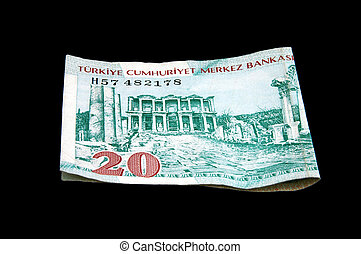 An isolated image of a 20YTL Turkish Lira Note