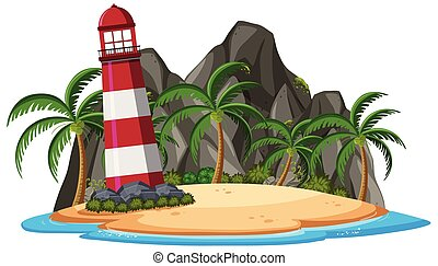 An isolated island on white background