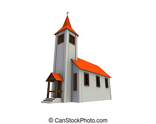 small chapel - An isolated small chapel with a red roof on...