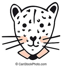 An isolated spotted leopard portrait with pink cheeks and a shirt collar. Childish funny hand drawing in Scandinavian style for children's products, sticker, etc. Vector.