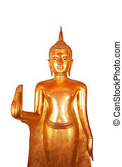 An isolated standing Thai golden buddha from Wat Pho, Bangkok, Thailand.
