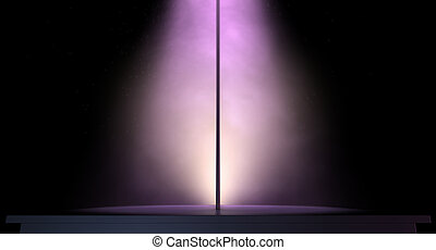 An isolated stripper pole on a stage lit by a single pink spotlight on a dark background