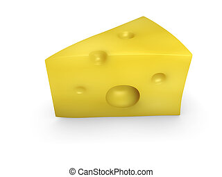 An isolated swiss cheese on white background