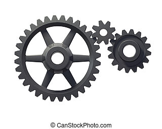 three cogwheels - An isolated three cogwheels on white...