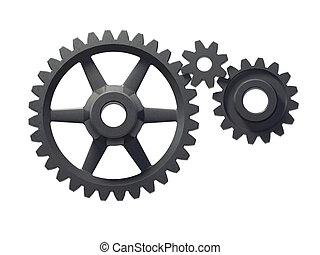 three cogwheels - An isolated three cogwheels on white...