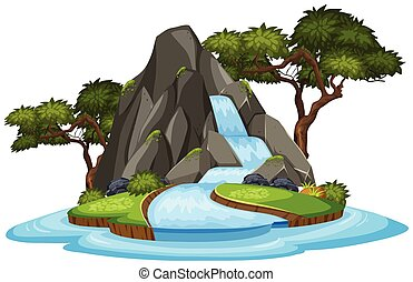 An isolated waterfall on white background