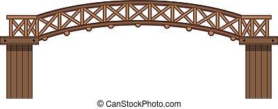 An isolated wooden bridge illustration