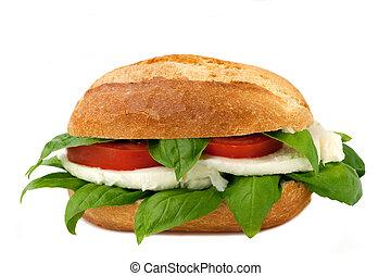 italian sandwich with fresh buffalo mozzarella