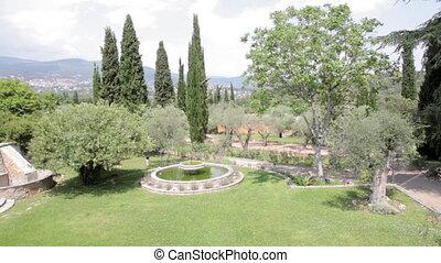 An Italian style garden in a villa - An Italian style garden...