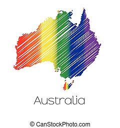 LGBT Coloured Scribbled Shape of the Country of Australia -...