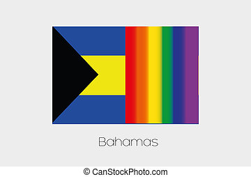 LGBT Flag Illustration with the flag of Bahamas