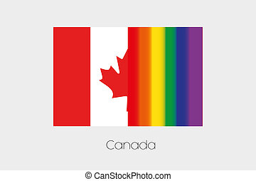 LGBT Flag Illustration with the flag of Canada