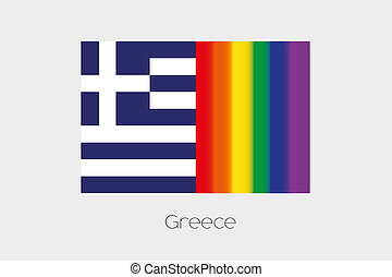 LGBT Flag Illustration with the flag of Greece