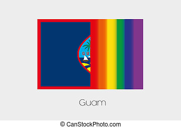 LGBT Flag Illustration with the flag of Guam