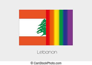 LGBT Flag Illustration with the flag of Lebanon