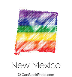 An LGBT Flag inside the State of New Mexico