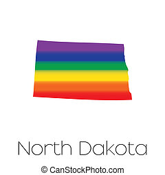 LGBT Flag inside the State of North Dakota