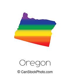 LGBT Flag inside the State of Oregon