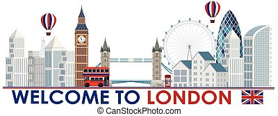 An London Tourist Attraction Template illustration