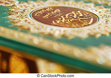 An macro image of the Quran. The Quran literally meaning '...