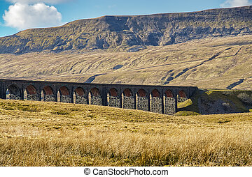 An oblique view of the Ribblehead viaduct, a well known landmark on the Settle-Carlisle railway in Northern England.
