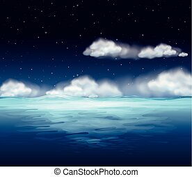 An ocean at night background