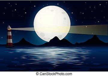 An ocean view at night