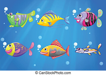 An ocean with colorful fishes