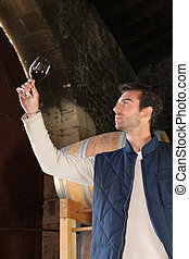 an oenologist examining red wine