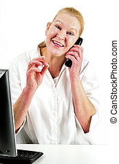 an office employee during a telephone conversation