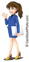 An office secretary wearing a blue uniform