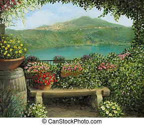 An oil painting on canvas of a view toward the lake in Castel Gandolfo, Italy with a romantic bench framed by blooming colorful flowers.