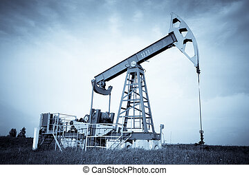 An oil pump jack. Selenium tone.