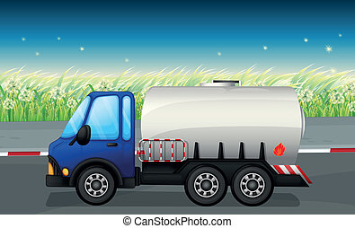 An oil tanker at the road