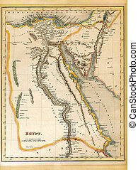 An old 19th century map, engraved and printed in England in 1845, depicting Egypt (Jerusalem in the north down to the border with Nubia in the south.