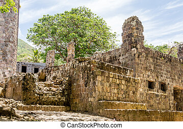 Old Abandoned Stone Block Building
