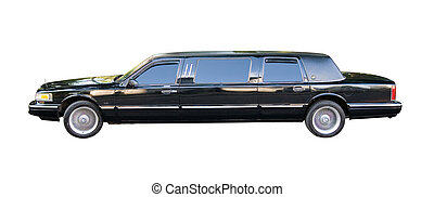 an old american limousine using for weddinds - isolated with...