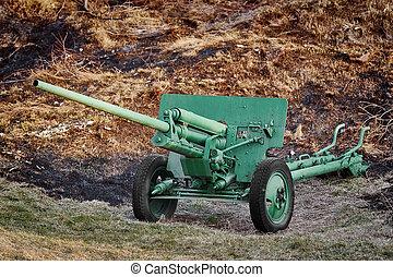 An Old Artillery Gun in the Field