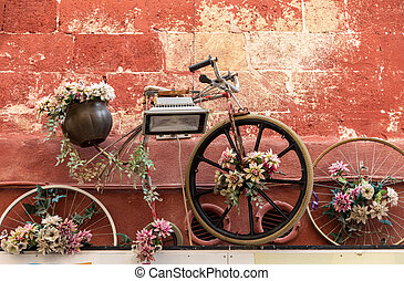an old bicycle as a flowerbed hanging on the wall of a building in Gravina in Puglia