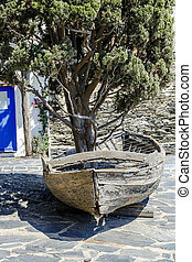 boat with a cypress inside in Portlligat