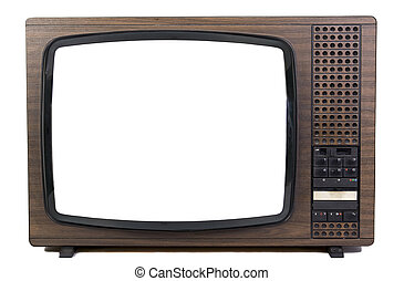 An old brown television isolated
