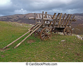 An old cart in the mountains of Crimea