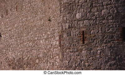 An old castle's wall - A tilt up shot of an old castle's...