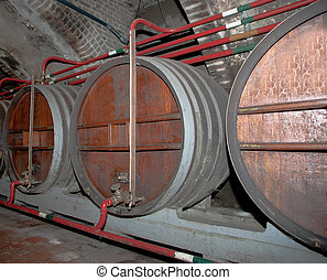 An old cellar of a traditional wine producer in France