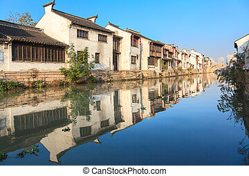 An old Chinese traditional town by the Grand canal, suzhou, China