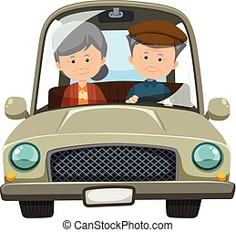 An Old Couple Driving a Car