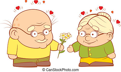 Grandpa gives flowers to my grandmother. Sweetheart vector illustration.